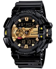G-Shock Men s Analog-Digital Bluetooth Black Resin Strap Watch 55x52mm  GBA400-1A9 568546253e