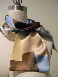 Geometric Silk Charmeuse Scarf Mini Scarf BrownBlue by Olimpias