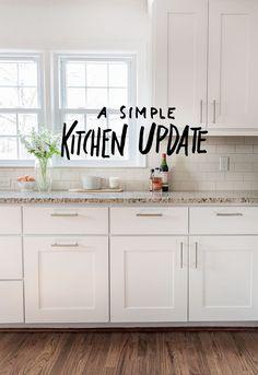 A Simple Kitchen Update (The Fresh Exchange) Diy Kitchen Cabinets, Kitchen Redo, New Kitchen, White Cabinets, Metal Cabinets, White Shaker Kitchen Cabinets, Soapstone Kitchen, Kitchen Remodeling, Country Kitchen