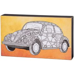 Primitives by Kathy Yellow VW Bug Block Sign ($19) ❤ liked on Polyvore featuring home, home decor, wall art, paper wall art, yellow wall art, yellow home decor, yellow home accessories and primitives by kathy