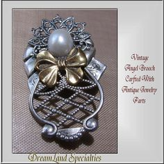 Angel Brooch Vintage Jewelry Crafted With Antique by DLSpecialties, $12.00 Best Price Guarantee! FREE $25 Gift Certificate with purchase!