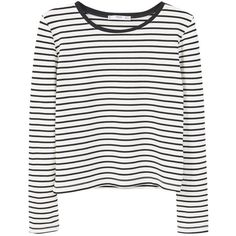Mango Striped T-Shirt, Black ($15) ❤ liked on Polyvore featuring tops, t-shirts, shirts, long sleeves, sweaters, tee-shirt, stripe t shirt, long sleeve tee, striped sleeve shirt and striped shirt
