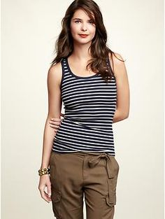 Navy/white striped tank. I love these tanks so much I bought three in different colors.