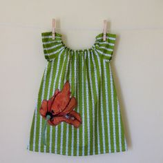 Girls Peasant Dress . Tunic . Leaf Green . Burnt Orange Poppy Applique $32