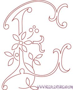 Free Pattern for Hand Embroidered Monograms: the Letter E this site has the whole alphabet of monograms very pretty.