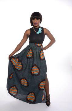African Love Print Maxi Skirt | Zuvaa