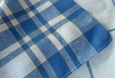 "Vintage Linen Tablecloth Blue Country Plaid Stripes 48"""