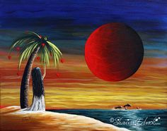 erback original painting girl child colorful pretty love heart sky seascape beach ocean on Etsy, $334.70