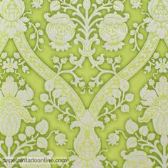Papel pintado flock 4 95691 5 papel de fondo turquesa con for Papel pintado tonos verdes