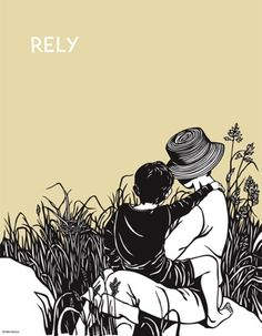 Nikki McClure  Rely  Poster Print  Nikki features strong images of everyday life, each with a powerful verb that inspires action.  Rely.  NIkki used only an X-acto knife, and cuts out her images from a single sheet of black construction paper -- creating a bold language that translates the complex poetry of motherhood, nature, and activism into a simple and endearing picture.