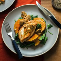 Thyme Stuffed Chicken, Caramelised Butternut and Spinach with Mushroom Sauce