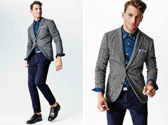 navy chino, denim shirt, grey blazer