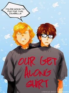 Jace and Simon, fanart i know this is dorky, but it made me laugh actually imagining simon and jace having a get along shirt