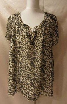 TALBOTS size 22WP Plus Blouse Shirt Top Brown Animal Sheer Career Club Trendy #Talbots #Blouse #Career
