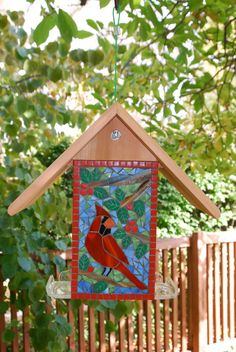 Bird Feeder, Stained Glass Mosaic