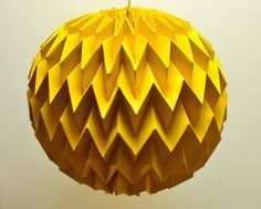 Bubble: Hanging Decorative Art / Origami Paper Ball - Mustard Yellow