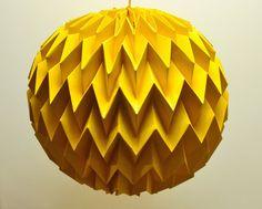Bubble: Hanging Decorative Art / Origami Paper Ball - Mustard Yellow