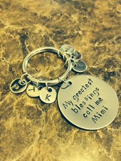 Personalized Hand Stamped Key Chain Mom, Nana, Grandma,         Mimi (Stainless Steel) on Etsy, $18.00