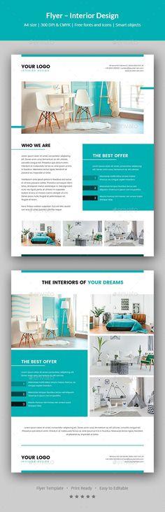 Simple Interior Design Flyer Brochures, Flyer template and Template - interior design brochure template