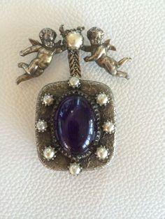 Rare designer christian dior mitchel maer vintage cherub  musical brooch
