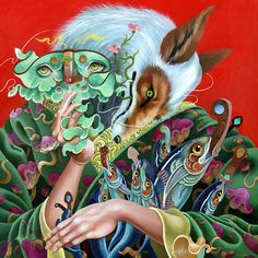 """Kitsune"" acrylic painting by Kit Mizeres"