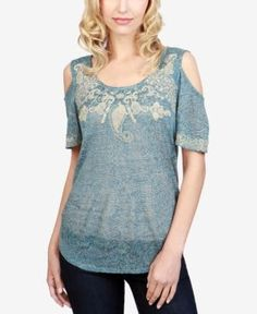 Lucky Brand Embroidered Cold-Shoulder Top - Blue XL