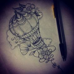 airship notebooks on instagram cool tattoo design illustration by sola_blackmeat ig of a hotairballoon entwined with a ribboned rope adorned with