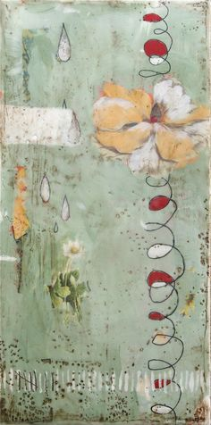 """Bloom Where You're Planted painting by Stephanie Lee / dabbler - acrylic, collage, and beeswax on wood. 6"""" x 12"""" x 1"""" http://www.etsy.com/shop/dabbler/  http://stephanielee.typepad.com"""