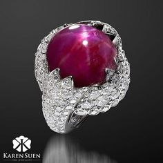 A brilliant 27ct Natural Star Ruby placed on a bed of diamonds in a platinum setting, creating an exquisite cocktail ring with a passionate Ruby color ❤ #KarenSuenFineJewellery