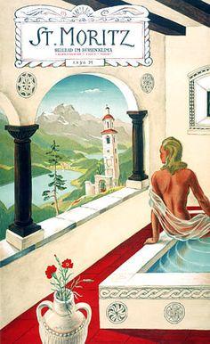 St Moritiz  Switzerland  Vintage travel print  c.1940s  http://vintagevenus.com.au/products/vintage_poster_print-tv385