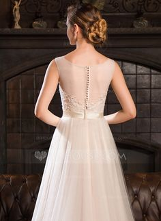 d2a1fdacef97  US  194.00  A-Line Princess Scoop Neck Sweep Train Tulle Lace Wedding  Dress With Beading Sequins - JJ s House