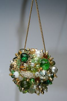 Green, White and Gold Tone  This unique handmade OOAK, ornament is made from vintage beads and jewelry. We call them memory ornaments because
