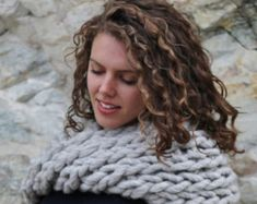 Chunky Hand-Knit Scarf made with sheeps wool from Canada. The Extreme Eleni shown here in light grey and it comes in 5 natural animal colors. Hand Knit Scarf, Wool Scarf, Blanket Scarf, Hand Spinning, Knitted Shawls, Yarn Colors, Beautiful Hands, Hand Knitting, Infinity