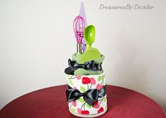 Items similar to Wedding Shower Kitchen Towel Cake on Etsy Kitchen Towel Cakes, Kitchen Towels, Kitchen Utensils, Dish Towel Crafts, Dish Towels, Wedding Shower Centerpieces, Throw In The Towel, Shower Towel, Party Table Decorations