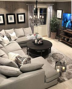Comfy Small Living Room Decor Ideas For Your Apartment - Decor Salon Maison - Living Room Decor Cozy, New Living Room, Home And Living, Cozy Room, Living Room With Sectional, Modern Living, Decorating Small Living Room, Cool Living Room Ideas, Basement Decorating Ideas
