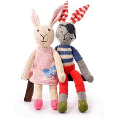 Tween Bunny and her Bunnyfriend     Organic Cotton Rabbits - Pink Dress and Pirate