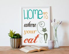 Pet wall art art print cat art printable by PrintableWallStory, $5.00