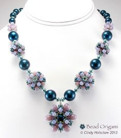Bead Origami: Raindrop Flower Necklaces in Four Different Colorways