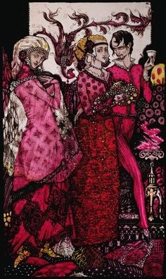 """Yet these are rotten, so you're the Queen of all are living, or have been"" Illustration by Harry Clarke from 'Queens' by J.M. Synge"