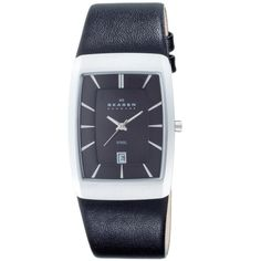 Skagen 690LSLB Men's Denmark Black Leather Strap Date Black Dial Stainless Steel Watch
