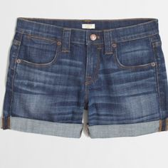 NWOT J.CREW CUFFED DENIM SHORTS Nwot brand new; size 29 (size medium or large) waistband has a bit of a stretch; can be worn cuffed (as shown in the picture) or with the frayed edges; has traditional five pocket styling; price is flexible!! J. Crew Shorts Jean Shorts