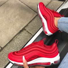 Nike Air Max 97 Gym Red // such a mega sneaker for women! Red shoes take getting used to, but here he looks great … Photo: Nike Air Max 97 Gym Red // such a mega sneaker for women! Red shoes take getting used to, but here he looks great … Photo: Me Too Shoes, Women's Shoes, Shoe Boots, Golf Shoes, Shoes Style, Mules Shoes, Aldo Shoes, Gucci Shoes, Platform Shoes