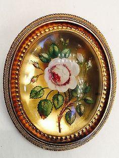 Victorian-Reverse-Painted-14K-YG-Brooch-Pin-Pendant-Locket-30-Grams-Large