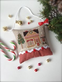 Completed Primitive cross stitch Sweet Shop by Rishastitchery, $23.00