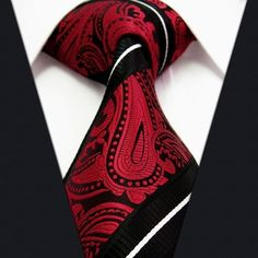 Fashionable zipper ties provided by duckxin can satisfy your stylish need for paisley stripes black red white tie set silk mens ties+cufflinks+hanky, plain colored turquoise tie or printed tie, find the one you love. Red And White Shirt, Paisley Tie, Future Clothes, Mens Attire, Dapper Men, Tie Set, Sharp Dressed Man, Black Suits, Suit And Tie