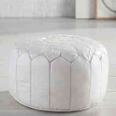 White Pouf Ottoman Moroccan Leather Pouf White  Poufs Ottomans And Tables