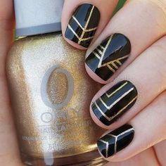 Black and Gold Nail Design for Short Nails