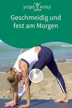 """Diese Yoga-Praxis macht deine Beinrückseite geschmeidig, und gleichzeitig stärkst du deine Mitte – deinen Kern, der dir Stabilität und innere Kraft gibt. Die Wiederholungen lassen deinen Geist ruhig und sehr klar werden. Leg den Fokus in der Ausführung auf ein """"lässiges Gefühl"""" und """"erfreu dich an dem, was funktioniert"""". Yoga Videos, Stage Design, Angel, How To Lose Weight Fast, Gain Muscle, Strength Workout, Muscle Up, Fatty Acid Metabolism, Helpful Tips"""