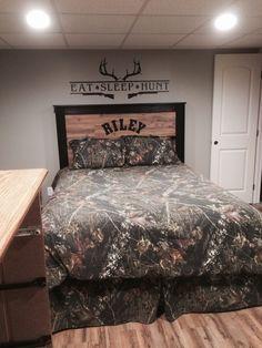 Hunting theme boys bedroom camouflage headboard