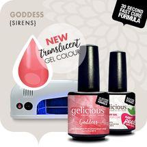 "gelicious GENUINE GEL: SIRENS ""Goddess"" + Mani-Pedi UV LED Lamp + Top Coat Package"